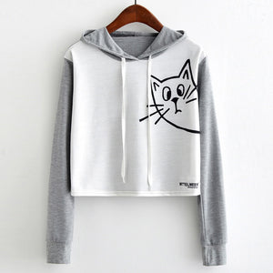 Womens Casual Long Sleeve Cat Sweatshirt Hooded Pullover Tops Blouse