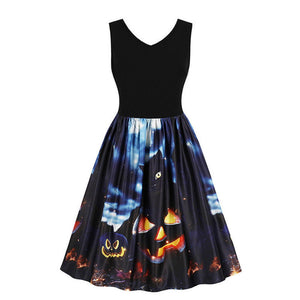 Womens Sleeveless Vintage Pumpkins Halloween Evening Prom Costume Swing Dress