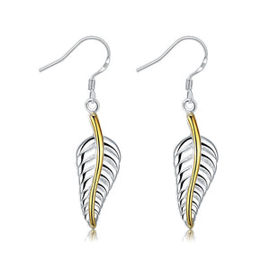 Doves Feather Earring in White Gold Plated