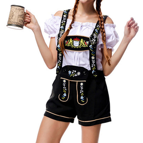 Image of Adult Women Lederhosen Oktoberfest Costume Beer Girl Bar Uniforms Female Wench Maiden Costume  Party Clothing