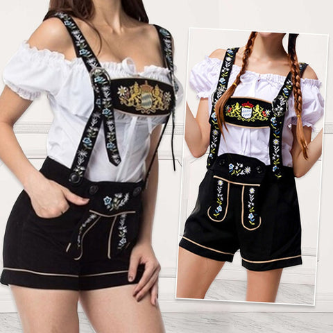 Adult Women Lederhosen Oktoberfest Costume Beer Girl Bar Uniforms Female Wench Maiden Costume  Party Clothing