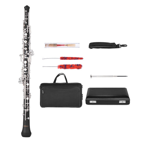 ammoon Professional C Key Oboe Semi-automatic Style Silver Plated Keys Woodwind Instrument with Reed Leather Case Carrying Bag for Beginners Students