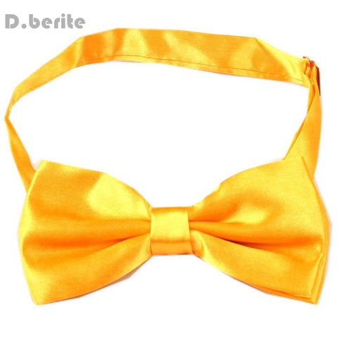 Tuxedo Men's Bowtie Adjustable Wedding Party Satin Solid Gold Yellow Bow Tie BT14