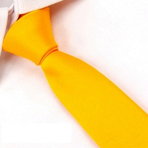 New Unisex Necktie Slim 100% Silk Ties Handmade Men's Casual Solid Skinny Tie Yellow Wedding Groom Party SK08
