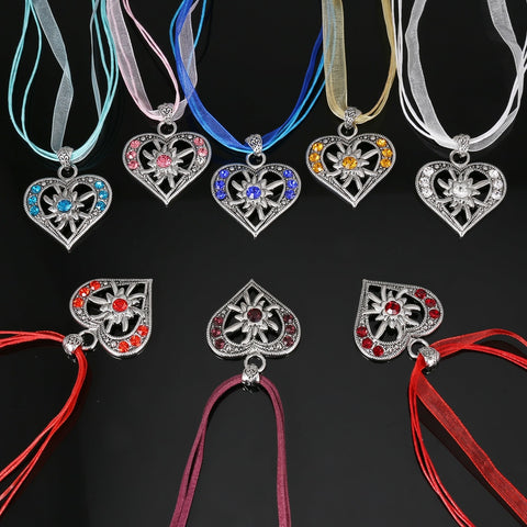 Image of Legenstar Love Heart Pendant  Necklaces Oktoberfest Edelweiss Statement Necklace for Women