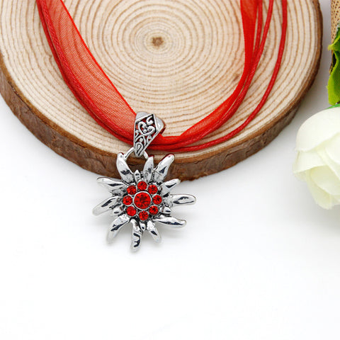 Trendy Jewelry Red Necklace Ribbon Edelweiss Pendant Necklace Trachten Style Choker Necklace for Women