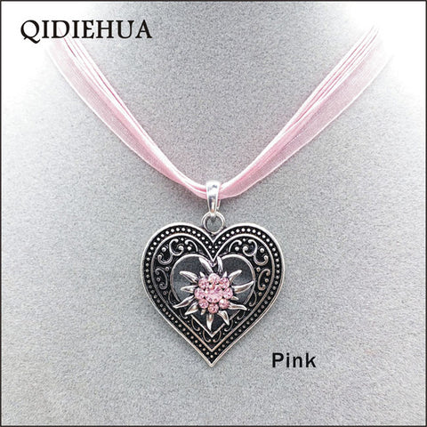 Image of Antique Silver Love Heart Necklaces Pendants Oktoberfest Edelweiss Statement Necklace for Women