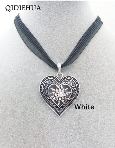 Antique Silver Love Heart Necklaces Pendants Oktoberfest Edelweiss Statement Necklace for Women