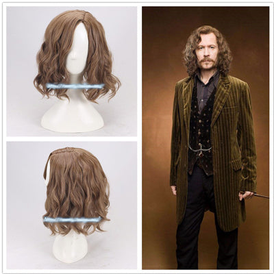 Image of Movie Harry Potter Sirius Brown Curly Wig Cosplay wig Halloween Role Play Sirius Black Hair Costumes+Wig Cap