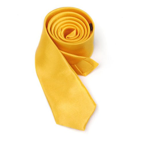 Hot Unisex tie casual tie narrow thin - Solid Golden Yellow