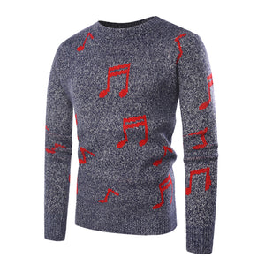 Musical Note Jacquard Knitted Sweater Pullover Men 2018 Autumn Winter Casual Slim Fit Crocheted Sweaters for Men Sueter Hombre