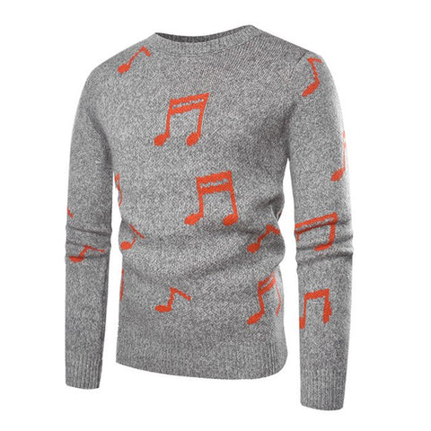 Image of Musical Note Jacquard Knitted Sweater Pullover Men 2018 Autumn Winter Casual Slim Fit Crocheted Sweaters for Men Sueter Hombre