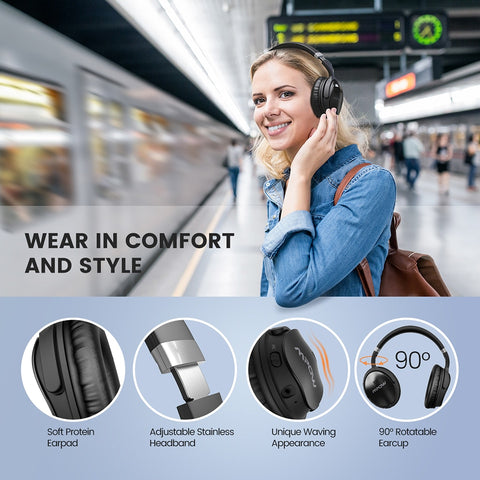 Image of Original Mpow H5 Wireless Bluetooth Headphones With Mic Active Noise Cancelling Headphone With Carrying Bag For PC TV Smartphone