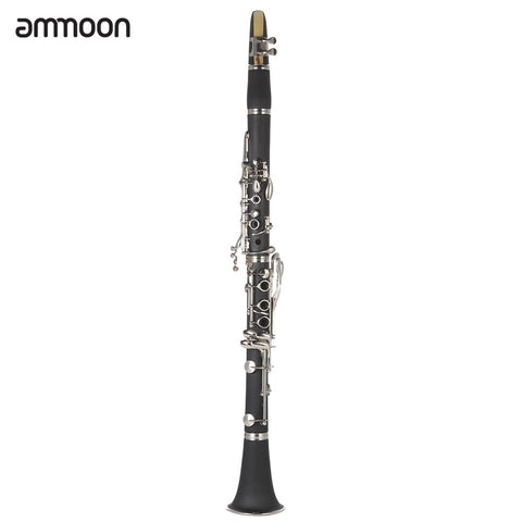 Image of ammoon ABS Clarinet Bb Cupronickel Plated Nickel 17 Key with Cleaning Cloth Gloves Screwdriver Woodwind Instrument for   Beginner Student