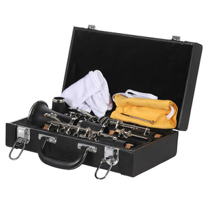 ammoon ABS Clarinet Bb Cupronickel Plated Nickel 17 Key with Cleaning Cloth Gloves Screwdriver Woodwind Instrument for   Beginner Student