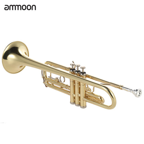 Image of ammoon Trumpet Bb B Flat Brass Gold-painted Exquisite Durable Musical Instrument with Mouthpiece Gloves Strap Case