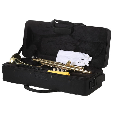 ammoon Trumpet Bb B Flat Brass Gold-painted Exquisite Durable Musical Instrument with Mouthpiece Gloves Strap Case