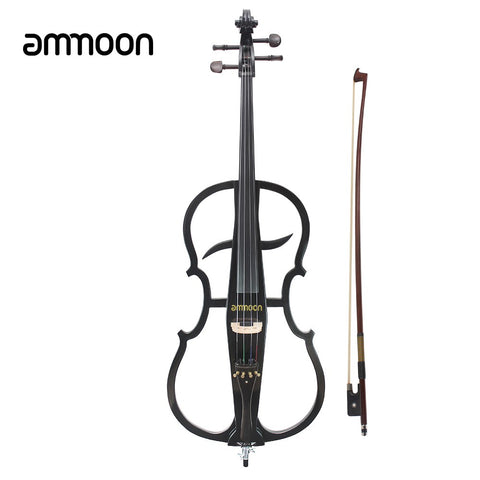 ammoon 4/4 Full Size Solid Wood Electric Cello Violoncello Maple Wood body Ebony Fittings in Style 1 with Tuner Headphone Gig Bag Red