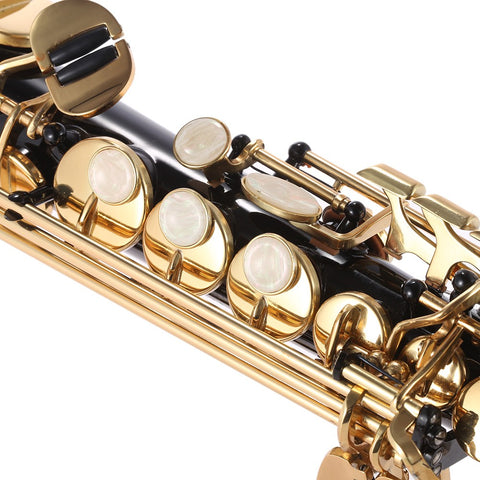 Image of ammoon Brass Straight Soprano Sax Saxophone Bb B Flat Woodwind Instrument Natural Shell Key Carve Pattern with Carrying Case Gloves Cleaning Cloth Straps Cleaning Rod