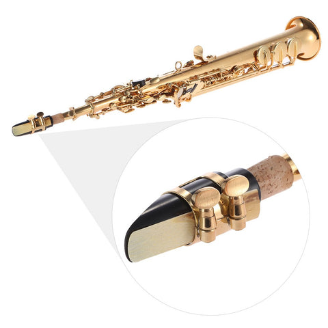 ammoon Brass Straight Soprano Sax Saxophone Bb B Flat Woodwind Instrument Natural Shell Key Carve Pattern with Carrying Case Gloves Cleaning Cloth Straps Cleaning Rod