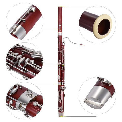ammoon Professional C Key Bassoon Maple Wood Body Cupronickel Silver Plated Keys Woodwind Instrument with Reed Gloves Cleaning Cloth Carrying Case