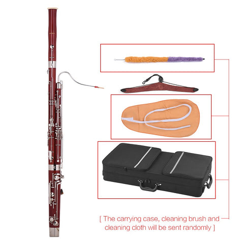 Image of ammoon Professional C Key Bassoon Maple Wood Body Cupronickel Silver Plated Keys Woodwind Instrument with Reed Gloves Cleaning Cloth Carrying Case