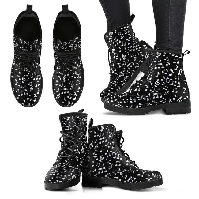 Music Note Leather Boots