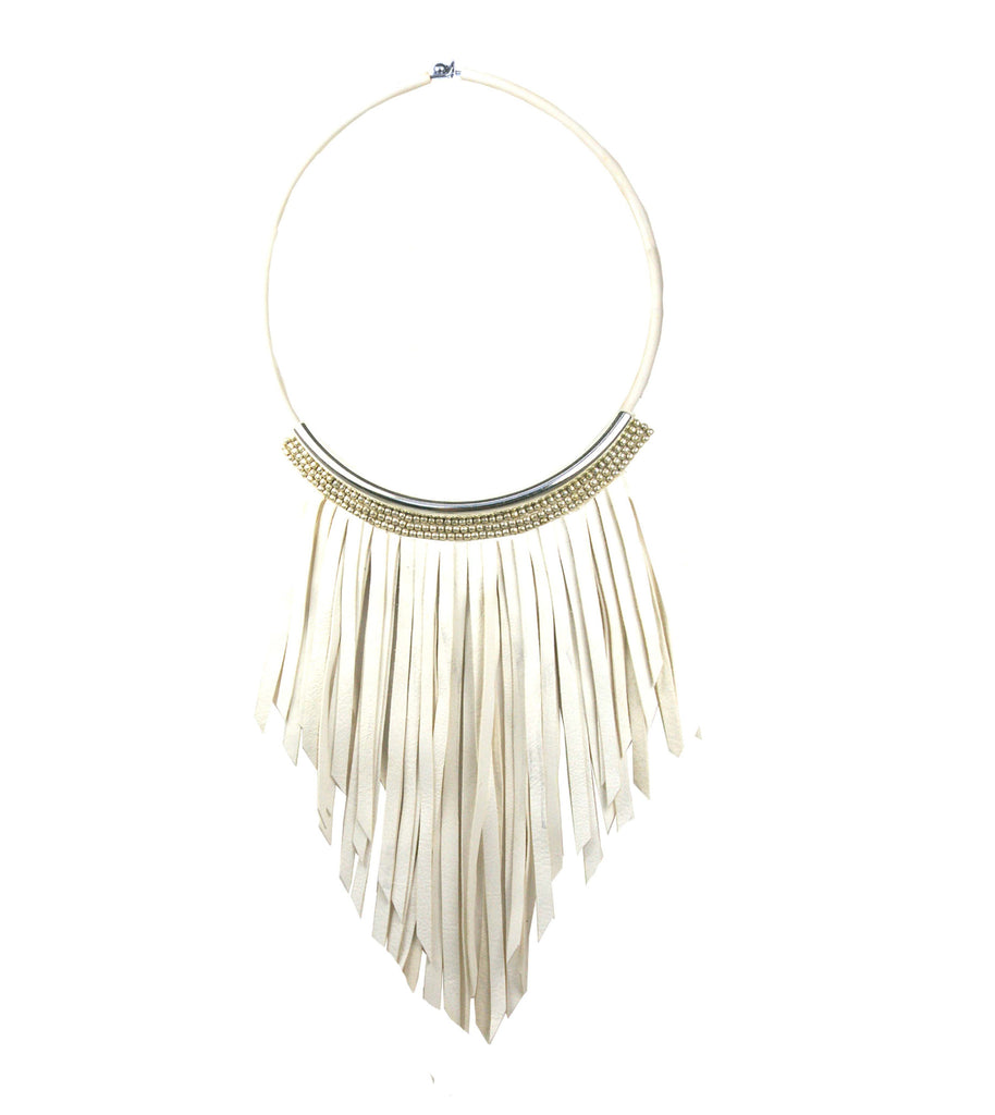 Crystal White torque necklace