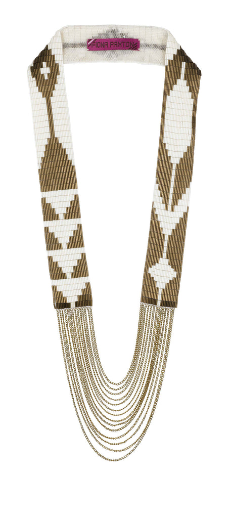 Edie Necklace bronze and cream