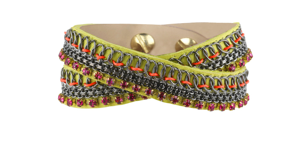 Emi lime double wrap cuff