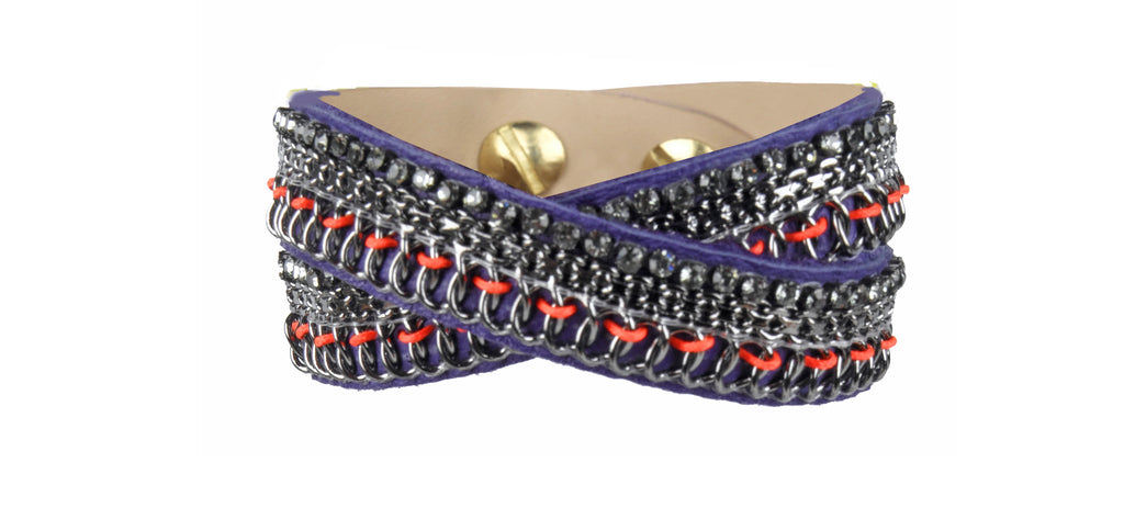 Emi purple double wrap cuff