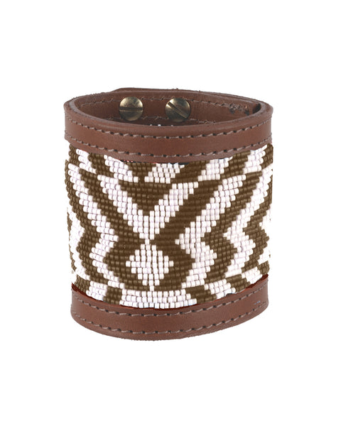 Hosi Wide Cuff  Bronze and Cream
