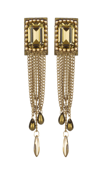 Lena gold stoned earrings