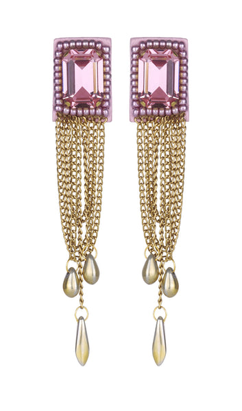 Lena pink stoned earrings