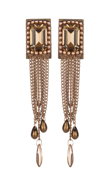 Lena Rose gold stoned earrings