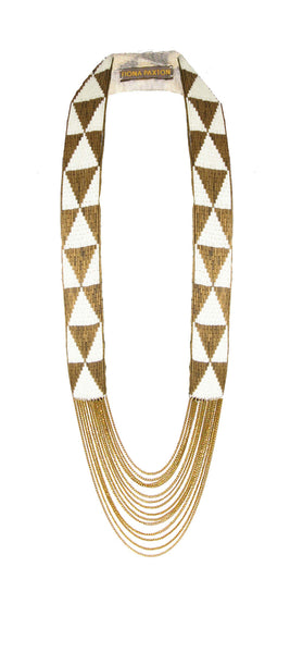 Louise Necklace bronze and cream