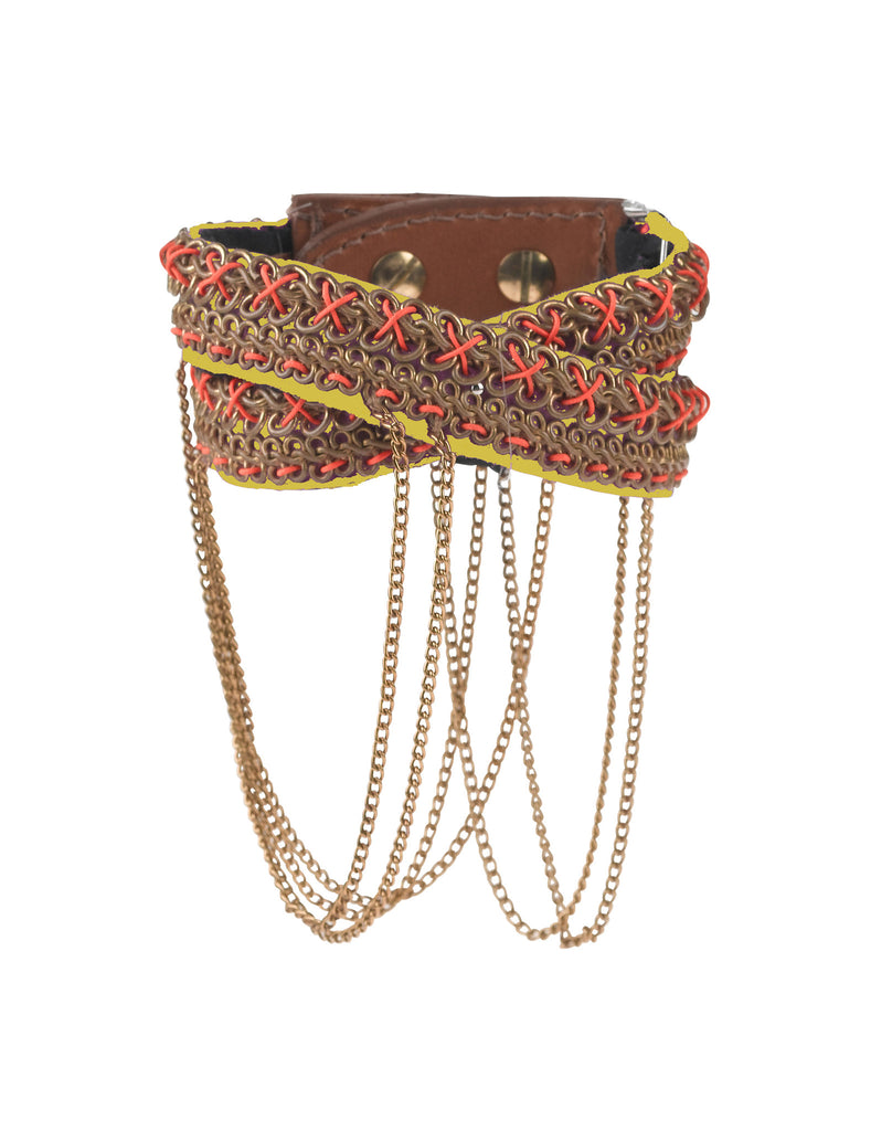 Nixie Yellow beaded cuff