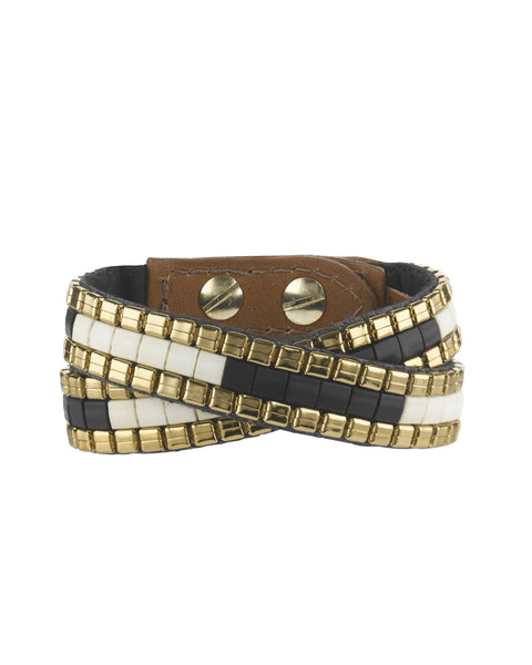 Naomi double wrap cuff black and cream