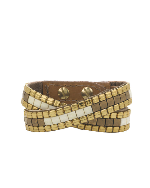 Naomi double wrap cuff  bronze and cream