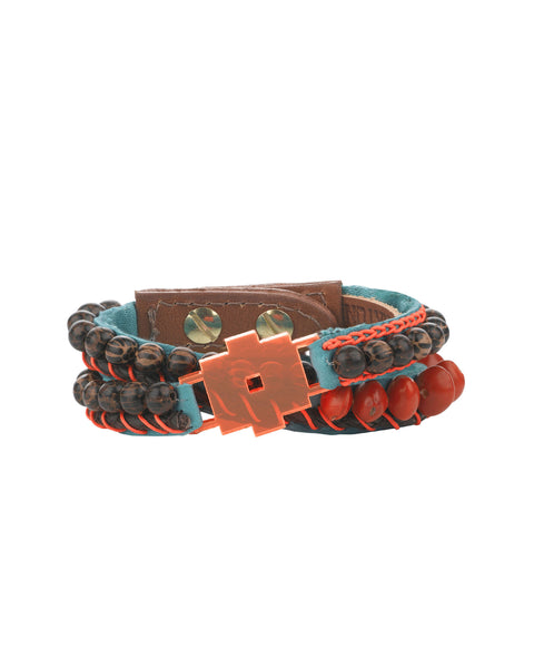 Sybille Orange and Coco beaded cuff