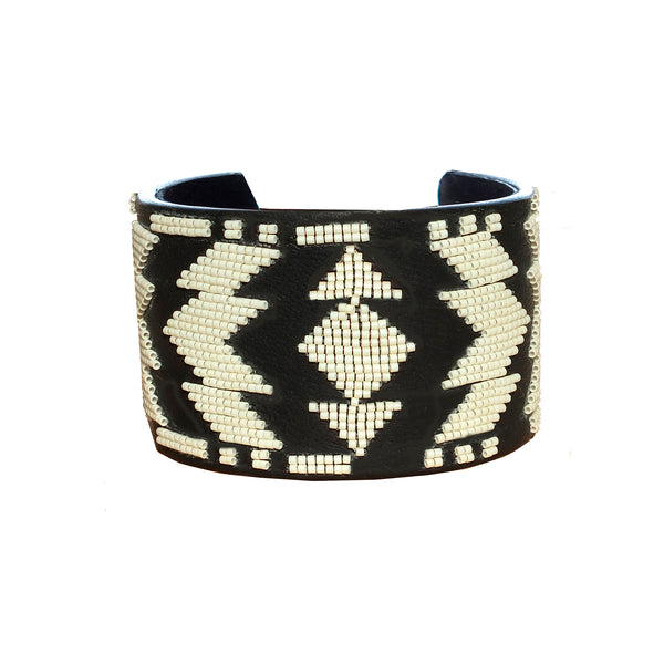 Tatiana wide beaded bangle