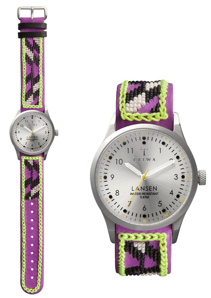 Silver Lansen Triwa Watch with beaded with strap