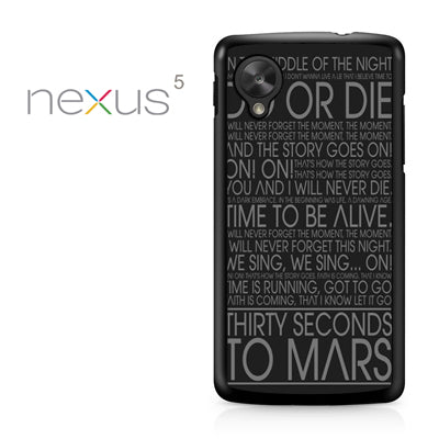 30 Seconds To Mars Lyric - Nexus 5 Case - Tatumcase