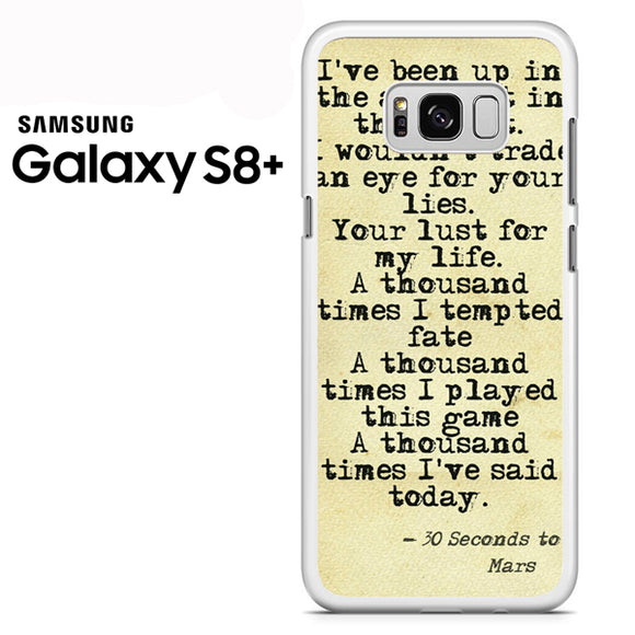 30 Seconds to Mars Lyrics 1 - Samsung Galaxy S8 Plus Case - Tatumcase