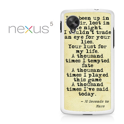 30 Seconds to Mars Lyrics 1 - Nexus 5 Case - Tatumcase