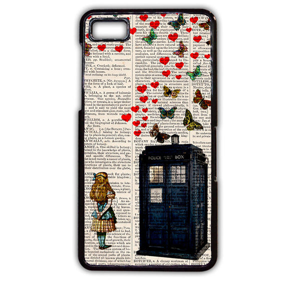 Alice In Wonderland Tardis Butterfly TATUM-531 Blackberry Phonecase Cover For Blackberry Q10, Blackberry Z10 - tatumcase