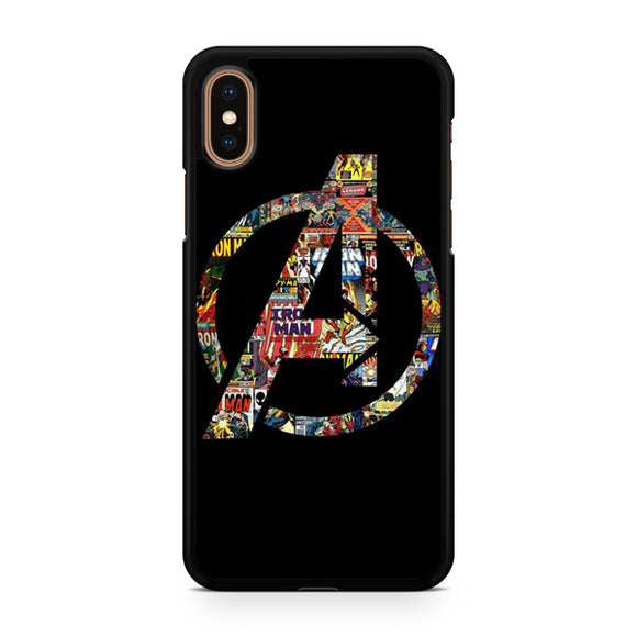 Avenger Logo with comics Pattern, Custom Phone Case, iPhone Case, iPhone XS Case