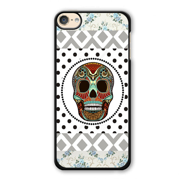 Aztec Skull Polkadots Background Phonecase Cover Case For Apple Ipod 4 Ipod 5 Ipod 6