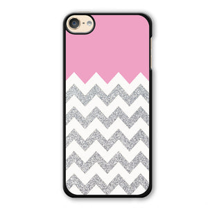 Pink Silver Glitter Chevron Phonecase Cover Case For Apple Ipod 4 Ipod 5 Ipod 6