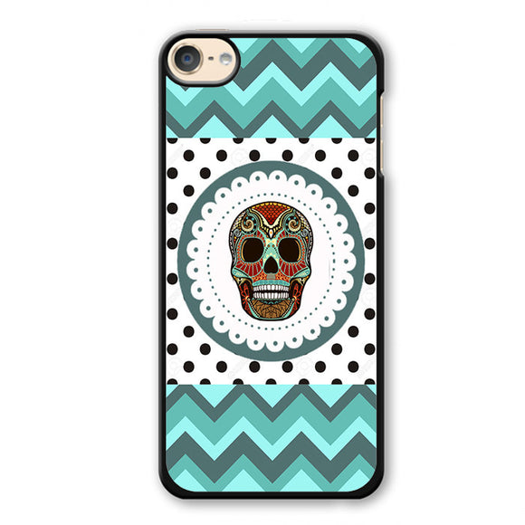 Polkadots Chvrom Skull Phonecase Cover Case For Apple Ipod 4 Ipod 5 Ipod 6